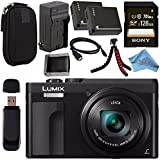 Panasonic Lumix DC-ZS70 DC-ZS70/K Digital Camera (Black) + DMW-BLG10 Lithium Ion Battery + External Rapid Charger + Sony 128GB SDXC Card + Small Carrying Case + Flexible Tripod Bundle