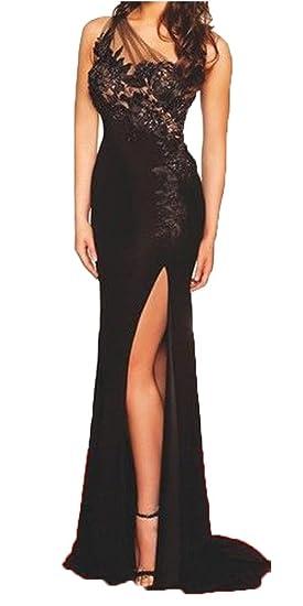 Amazon Fanmu One Shoulder High Slit Long Black Formal Dress