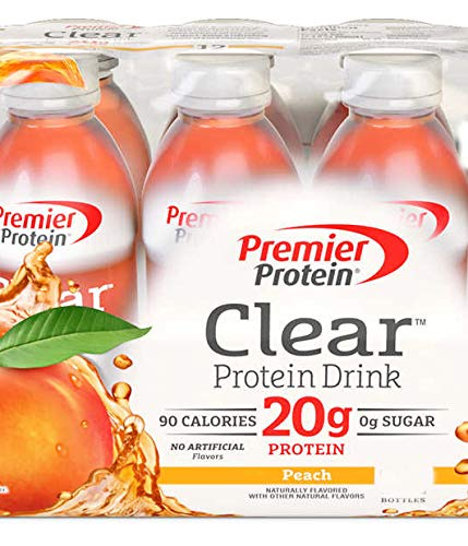 Premier Protein Clear Drinks Peach 6 CT 16.9 oz by Premier protein drinks