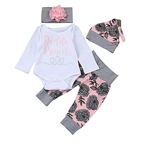 chicolife Baby Mädchen Blumen Outfit Set Buchstaben gedruckt Papas Prinzessin Langarm-Strampler mit Blume Stirnband Hut 4Pcs,12-18Month