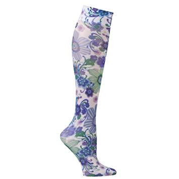 bd8499ee5b3 Image Unavailable. Image not available for. Color  Celeste Stein Moderate  Compression Knee High Stockings Wide Calf-Raining Flowers