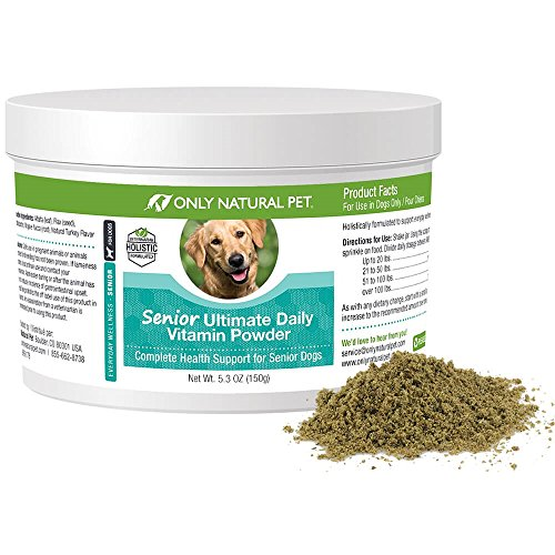 Only Natural Pet Senior Ultimate Daily Canine Vitamin Supplement for Dogs Complete Holistic Health Support - Made in USA, 5.3 oz Turkey Flavored Powder (Vitality Multivitamin Senior)