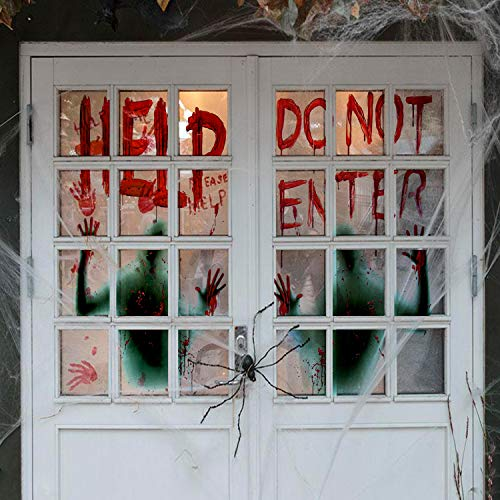 Haunted House Halloween Party - Angmart 2 Piece Halloween Giant Bloody Window Posters Party Decoration for Haunted Houses,Halloween Parties