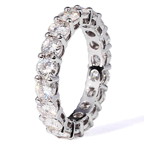 TransGems 2.5 CTW F Color Moissanite Simulated Diamond Eternity Engagement band 14K Gold for Women (6.5) by TransGems (Image #6)