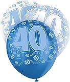 Unique Party - 80885 - Paquet de 6 Ballons en Latex - 40e Anniversaire - 30 cm - Bleu Glitz