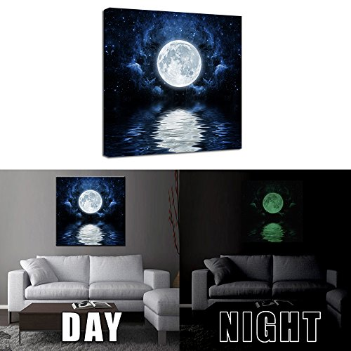 Kreative Arts - Glow in the Dark Luminous Canvas Wall Art Full Moon Water Reflection Sky Night Picture for Home Decor Artwork Modern Framed Ready to Hang 20''x20''