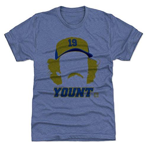 - 500 LEVEL Robin Yount Triblend Shirt Medium Tri Royal - Vintage Milwaukee Baseball Men's Apparel - Robin Yount Silhouette B