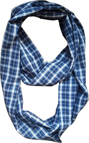 Vintage Fashion Party Indian Madras check plaid cotton fabric loop infinity scarfs (Blue Check) (Vintage Indian Scarves)