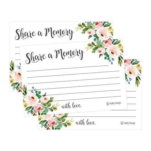 25 Floral Funeral/Birthday Share a Memory Card Keepsake, Condolence Sympathy Memorial Acknowledgment, Remembrance Appreciation Celebration of Life Service Supplies Guest Book Alternative Advice Game by Hadley Designs