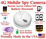AES ThirdEye 4G Cellular Mobile 1080P HD Smoke Detector Deploy Spy Camera // 60 Day Run-time Battery Powered Wireless Remote Live stream Spy Gadget ( w Remote View, Remote Playback and Mobile Alerts)