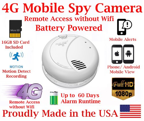 AES ThirdEye 4G Cellular Mobile 1080P HD Smoke Detector Deploy Spy Camera // 60 Day Run-time Battery Powered Wireless Remote Live stream Spy Gadget ( w Remote View, Remote Playback and Mobile Alerts) by AES Spy Cameras