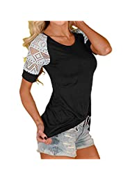 Susenstone Women's Casual Summer Lace Blouse T-Shirt Tee Short Sleeve Tops