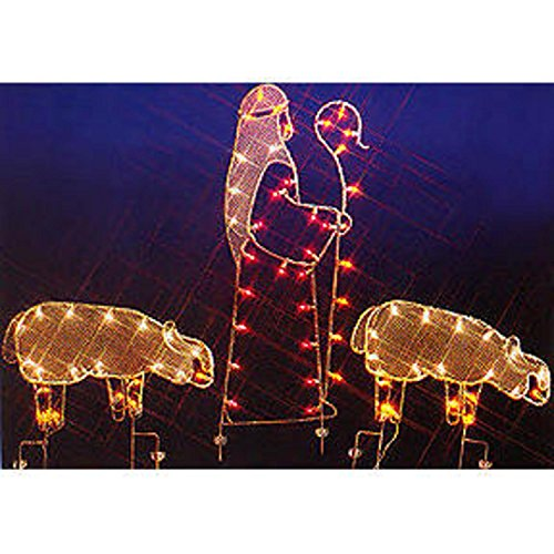 68'' Nativity Shepherd and Sheep Silhouette Lighted Wire Frame Christmas Yard Art by Vickerman
