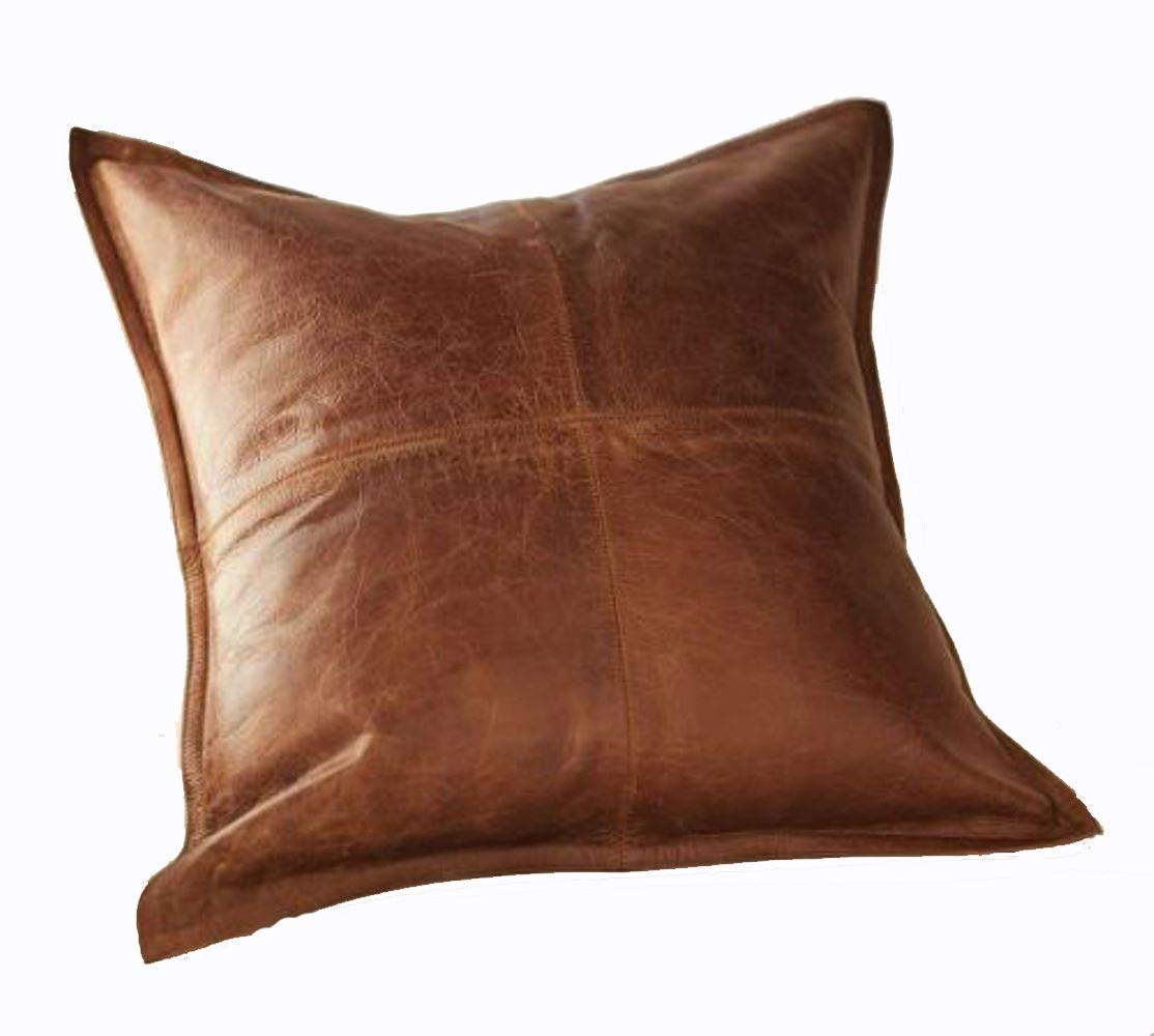 Leather Lovers 100% Lambskin Leather Pillow Cover - Sofa Cushion Case - Decorative Throw Covers for Living Room & Bedroom - 22x22 Inches - Antique Brown Pack of 2
