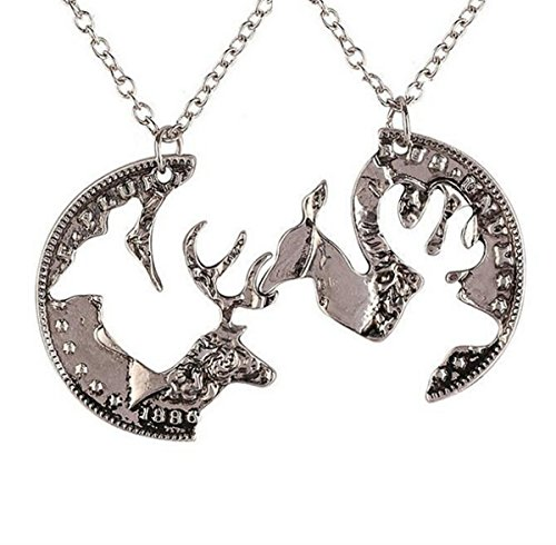 Creativelife Elk Couple Necklace Set Animal Necklace - Couples Batman Necklace