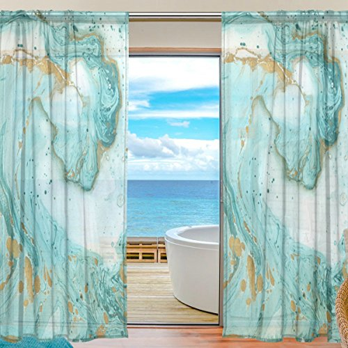 Cooper girl Turquoise Gold Marble Sheer Window Curtain Panel Drape 55x84 Inch for Living Room Bedroom Kids Room 2 Piece