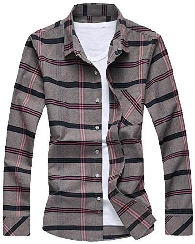 MUJPOM Men's Stylish Lattice Pattern Square-Collar Dress Shirt BeigeUS Medium-(China X-Large) Excellent (Simple Renaissance Dress Patterns)