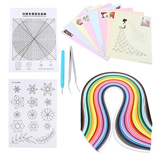 6 in 1 Paper Quilling Kits Set 500pcs Quilling Strips + 8pcs Quilling Drawing + Quilling Grid Guide + Flower Pattern + Slotted Pen + Tweezer