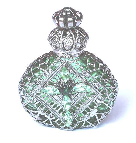 Czech Jewelled Decorative Green Christian Cross Perfume Oil Bottle Holder 2 1/4