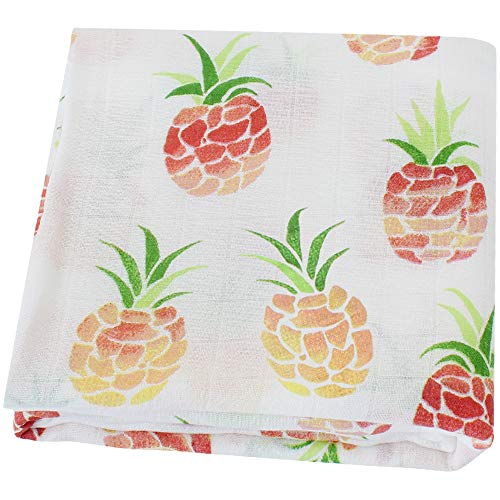 LifeTree Muslin Baby Swaddle Blankets, Breathable Soft Swaddle Wrap for Boys & Girls, 70% Bamboo & 30% Cotton Perfect for Swaddling Newborn Pineapple Print