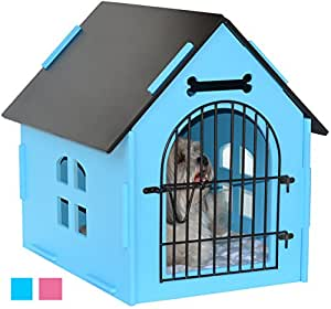 ROYAL CRAFT WOOD Dog House Crate Indoor Kennel for Small Dogs, Pet Home with Door and Bed Mat (BLUE)