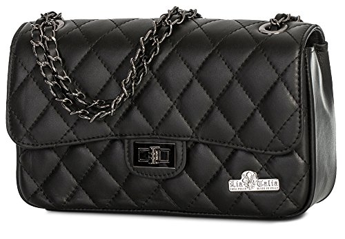 Medium CAROL Evening Leather Clutch Genuine LIATALIA Ladies Womens Bag Italian Black Party Purse Quilted UqPUgZW7
