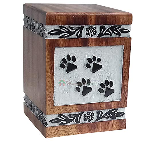 Handicrafts House Decorative Wooden Urns for Dog Ashes, Natural Wood Cremation Urn with Paw Engraving - Pet Funeral Keepsake, Cat Memorial Box, Burial Casket 135 cu/in ()