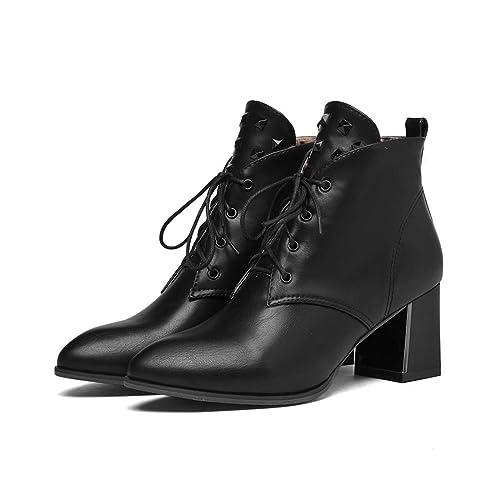 Botas Altas y Elegantes de Corte Alto.Botines de Encaje Puntiagudo | Botines con Cordones en Encaje con tacón Alto: Amazon.es: Zapatos y complementos