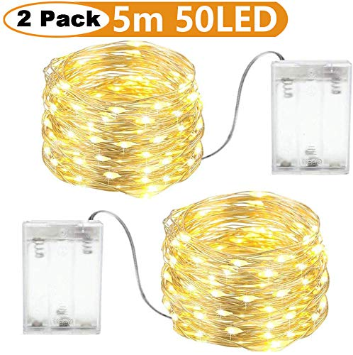 Fairy Lights Battery Powered Indoor, led Light Strings for Bedroom Warm White,Silver Wire 2 Packs 5m 50 LEDs