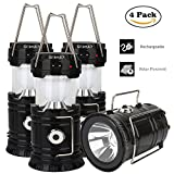 LED Camping Lantern - 4 Pack Camping Lantern, GT ROAD Solar Rechargeable Led Lantern Flashlight