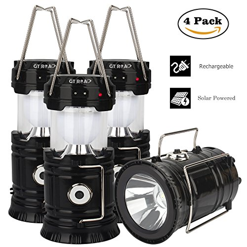 4 Pack Camping Lantern, GT ROAD Solar Rechargeable Led Lantern Flashlight