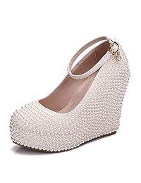 Minishion Womens Hidden High Platform Pearl Beading Wedge Heel Wedding Evening Shoes