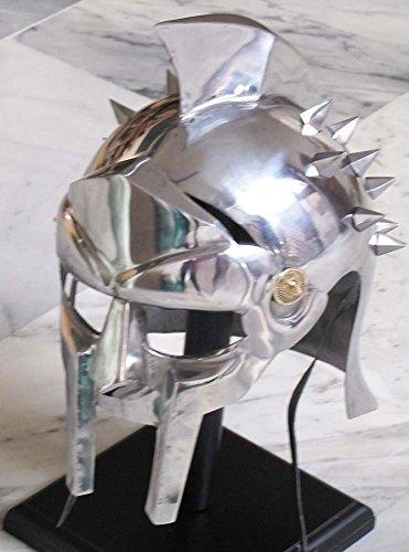 AnNafi Mens Gladiator Maximus Arena Helmet | Wearable Medieval Helmet Full Size |Halloween Party Costumes | LARP Clothings Movie Dresses w Inner Liner -