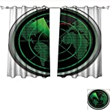 Qinqin-Home Blackout Living Room/Bedroom Window Curtains Military Radar Screen Global Defense Danger Detecter