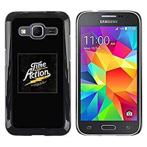 Be Good Phone Accessory // Dura Cáscara cubierta Protectora Caso Carcasa Funda de Protección para Samsung Galaxy Core Prime SM-G360 // Time Action Gold Poster Black Electric