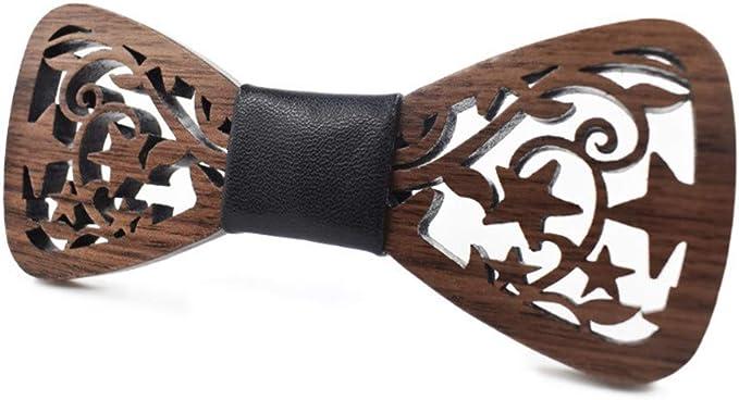 YYIILL Corbata de moño Pajarita de madera escultura geométrica de ...
