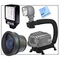 Xtreme Skateboarders Stabilizing Grip/Fisheye View Kit For Sony HDR-CX130, HDR-CX160, HDR-CX360V, HDR-CX560V, HDR-CX700V, HDR-XR160 Camcorders. Includes: 0.45x High Definition Wide Angle Lens, Professional Video Stabilizing Handle, Pro Series LED Video Light & CS Microfiber Cleaning Cloth