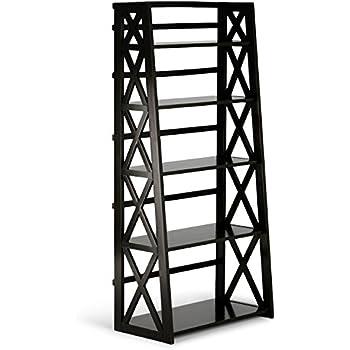 Simpli Home Kitchener Solid Wood Ladder Shelf, Dark Walnut Brown
