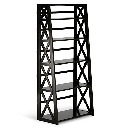 Simpli Home 3AXCRGL004 Kitchener Solid Wood 63 inch x 30 inch Contemporary Ladder Shelf in Dark Walnut Brown ()