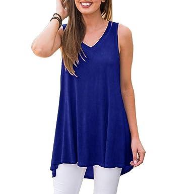 22b3004c7e7 Lovor Women s Spring Summer Solid Sleeveless V-Neck T-Shirt Tunic Tops  Blouse Casual