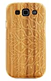 Boho Tronics ® Genuine Bamboo Case Engraved Lace Crochet Doily Cover Hard Natural Smooth Wood Skin - Compatible With Samsung Galaxy S III