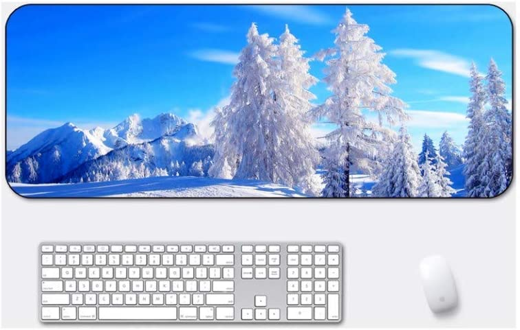 Mouse Pad Suitable for Desktop Computer//Notebook,900x400mmx4mm Large Padded Waterproof Non-Slip Keyboard Pad Blue Sky Snow Tree Style Desk Pad