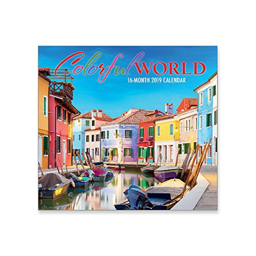 16 Month Premium Wall Calendar 2019 - Colorful World - Each Month Displays Full-Color Photograph. Printed on Linen Embossed Heavyweight Paper - Colorful Calendar