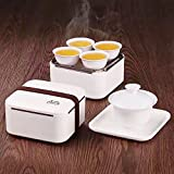 Eternal Chinese Porcelain Style Kung Fu Tea Set Gongfu Tea Service with a Portable Bag for Travel (White)5-pack