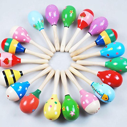 Mini Wooden Ball Children Toys Percussion Musical Instruments Sand Hammer  Random  By Gbell