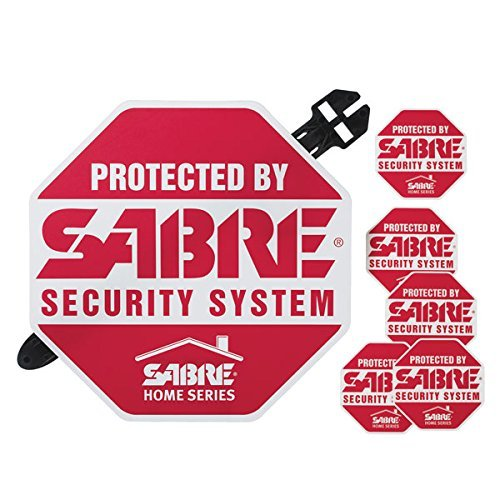 SABRE Home Security Alarm Yard Sign and 5 Window Decal Stickers Crime Deterrent (Home Depot Decals)