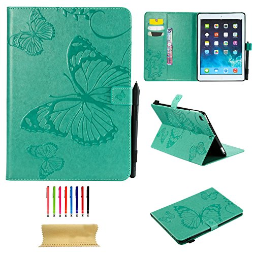 Uliking iPad 9.7 inch 2018 2017 (iPad 6th/5th Gen)/iPad Air 2 /iPad Air Case, Vintage Smart Folio Stand PU Leather TPU Wallet Cover with Card Pocket Pencil Holder [Auto Sleep/Wake], Green Butterfly ()