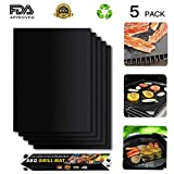 Maibtkey BBQ Grill Mat Set of 5, Nonstick Barbeque grill matGrill Cooking Mat FDA Approved PFOA-Free Reusable Easy to Clean for Charcoal, Electric and Gas Grill 15.75 X 13 Inch Black For Sale