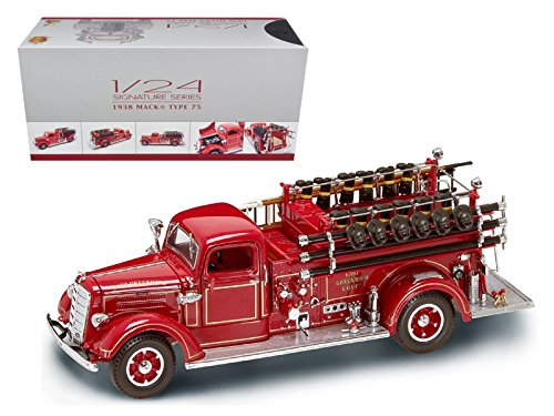 1938 Mack Type 75 Fire Engine Red with Accessories Signature Series 1/24 Diecast Model Truck by Road Signature 20158r