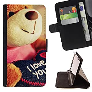 Cute Teddy Bear Plush Toy Love You I - Painting Art Smile Face Style Design PU Leather Flip Stand Case Cover FOR LG G2 D800 @ The Smurfs